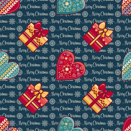 Christmas background. Hearts and gift box. Seamless pattern. Colorful vector image. Ornamental holiday texture