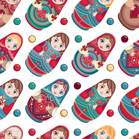 matroshka: Russian souvenir. Matryoshka - babushka doll. Ethnic wooden toy. Seamless colorful pattern. Vector