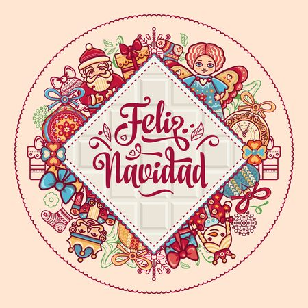 Christmas decorations for invitations and greeting cards. Winter toy. Feliz navidad. Xmas card on Spanish language. Warm wishes for happy holidays in Spain. English translation: Merry Christmas. 版權商用圖片 - 73270864
