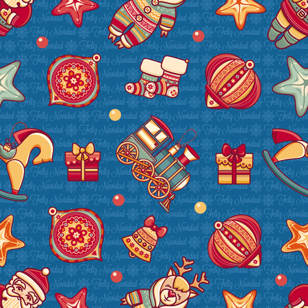 gingerbread man: Christmas toys. Seamless pattern. Holiday background. Colorful ornament.