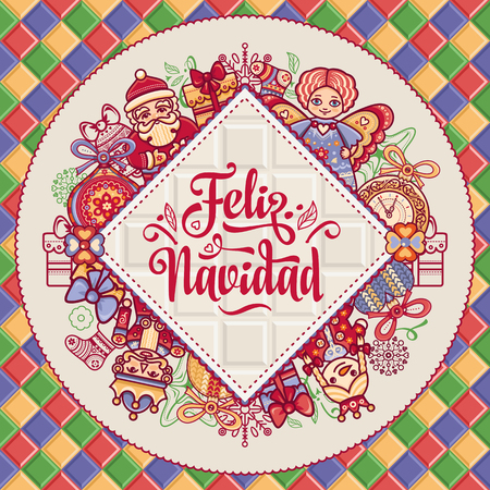 Feliz navidad. Greeting card in Spain. Xmas festive background. Colorful image. Translated from Spanish - merry Christmas!