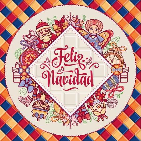 Merry christmas abstract background holiday ornament season greeting message in spanish feliz navidad festive ornamental background for greeting cards vector colorful merry xmas m4hsunfo