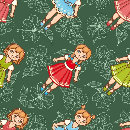 Little Ballerina and Flower. Cartoon style. Seamless pattern. Baby Doll. Colorful background. Botanical ornament. Illustration