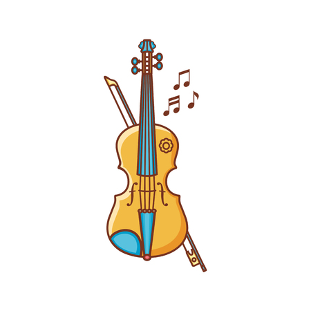 Violin. Musical instrument. Childs toy. Cartoon style.