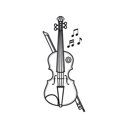 Geige. Musikinstrument. Kinderspielzeug Cartoon-Stil.