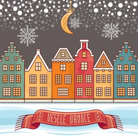 Vesele Vanoce. 크리스마스 메시지입니다. 체코 언어로 문구가있는 레터링 작문. 즐거운 휴일에 대한 따뜻한 소원. 인사 장, 프로모션에 가장 적합합니다.