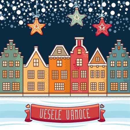 Vesele Vanoce. 크리스마스 메시지. 체코 언어로 문구가있는 레터링 작문. 행복한 휴일에 대한 따뜻한 소원. 인사 장, 프로모션에 가장 적합합니다. 영어 번역 : Merry Christmas. 스톡 콘텐츠 - 81715733