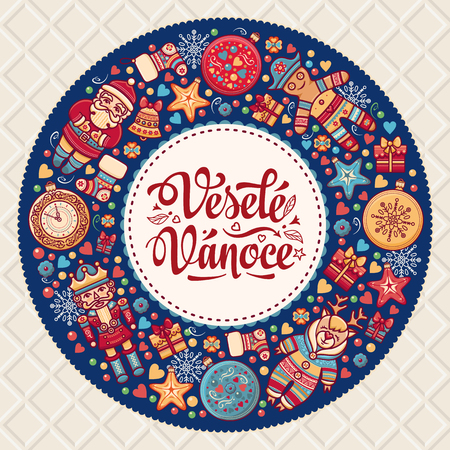chrismas card: Vesele Vanoce. Christmas message. Lettering composition with phrase on Czech language. Warm wishes for happy holidays. Best for greeting card, promotion. English translation: Merry Christmas.
