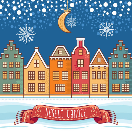 Vesele Vanoce. 크리스마스 메시지. 체코 언어로 문구가있는 레터링 작문. 행복한 휴일에 대한 따뜻한 소원. 인사 장, 프로모션에 가장 적합합니다. 영어 번역 : Merry Christmas. 스톡 콘텐츠 - 82085635