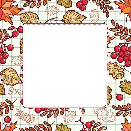 Autumn leaf ornamental frame. Forrest leafy background. Abstract texture. Nature decoration, Woodland template. Rowan, Maple, Birch, Oak. Illustration