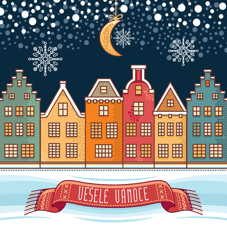 Vesele Vanoce. Christmas message. Lettering composition with phrase on Czech language. Warm wishes for happy holidays.