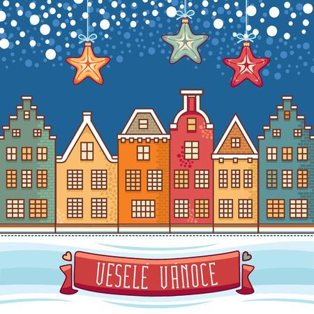 Vesele Vanoce. 크리스마스 메시지. 체코 언어로 문구가있는 레터링 작문. 행복한 휴일에 대한 따뜻한 소원. 인사 장, 프로모션에 가장 적합합니다. 영어 번역 : Merry Christmas. 스톡 콘텐츠 - 82879820