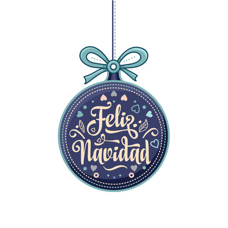 Feliz navidad. Xmas card on Spanish language. Warm wishes for happy holidays in Spain. English translation: Merry Christmas. Imagens - 82944673