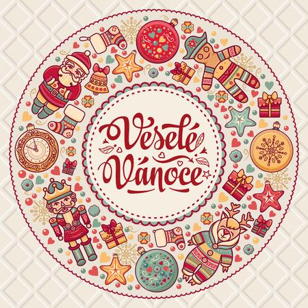 Vesele Vanoce. 크리스마스 메시지. 체코 언어로 문구가있는 레터링 작문. 행복한 휴일에 대한 따뜻한 소원. 인사 장, 프로모션에 가장 적합합니다. 영어 번 일러스트