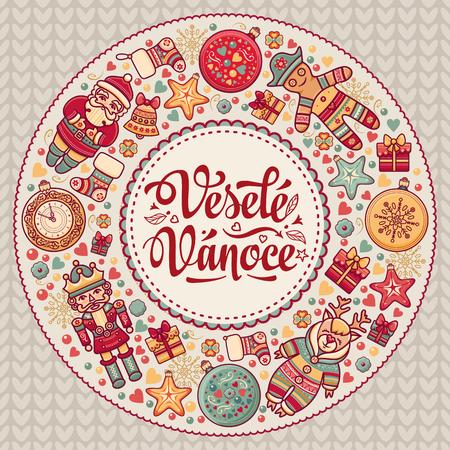 Vesele Vanoce Greeting Card.Elegant Winter Background. Christmas And New Year Background.
