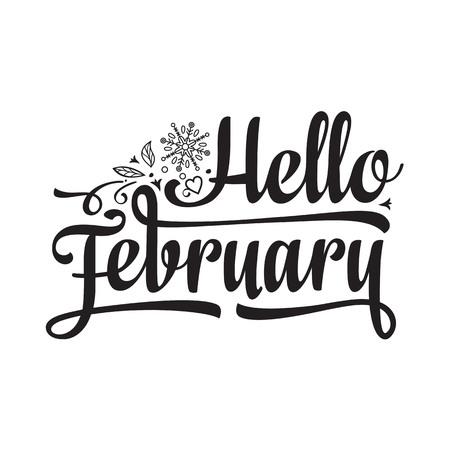 Hello February card. Holiday colorful decor. Vector Illustration