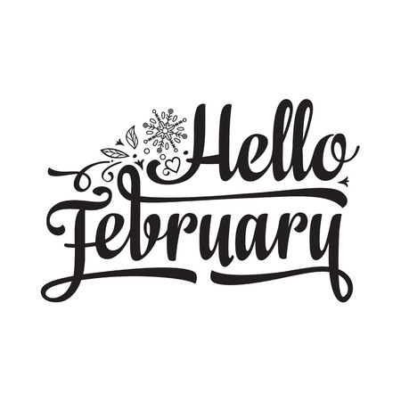 Hello February card. Holiday colorful decor. Vector Illustration