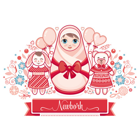 matryoshka: Newborn little baby. Matryoshka. Greeting card. Best for birthday congratulation. Illustration