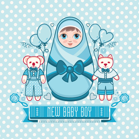 Newborn little baby. Matryoshka. Greeting card. Best for birthday congratulation. Illustration