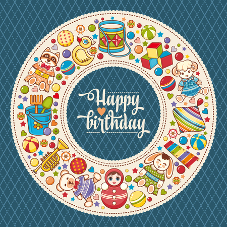Childrens colorful round frame. Kids toy set. Baby background. Happy birthday greeting card.