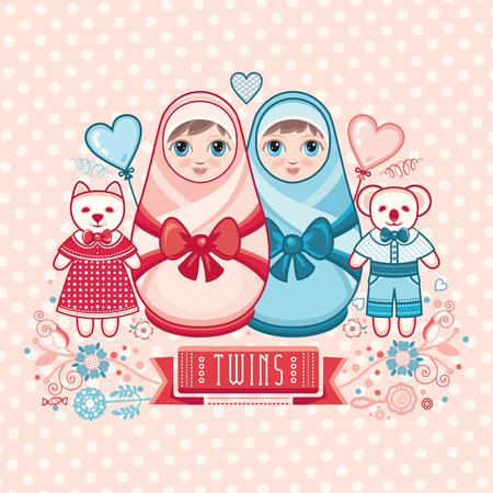 muñecas rusas: Bebé recién nacido. Matryoshka. Tarjeta de felicitación. Mejor para la felicitación del cumpleaños. Vectores