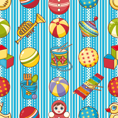 simple girl: Child toy seamless pattern. Design element for postcard, banner, flyer, poster or print.