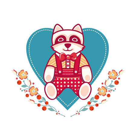 Cute raccoon greeting card. Heart template
