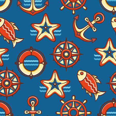 galley: Seamless pattern. Marine ornament. Sea Nautical background. Sea shell. Marine icon. Vector illustration