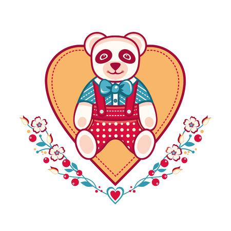 Linda panda tarjeta de felicitación Plantilla de corazón
