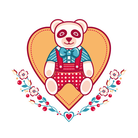 Cute panda greeting card. Heart template