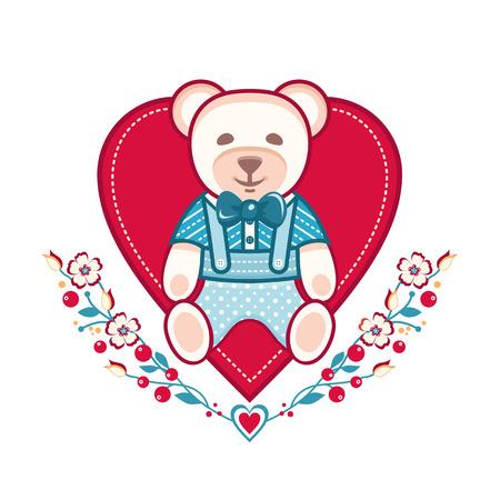 Cute bear greeting card. Heart template