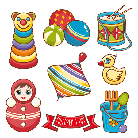 Childrens toy ornament. Kid cute set. Vector illustration
