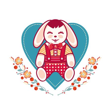 Cute rabbit greeting card. Heart template Vektoros illusztráció