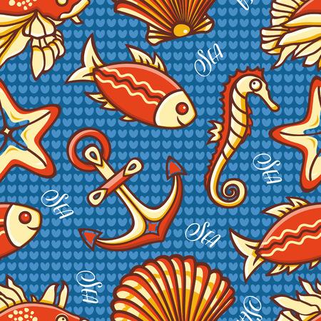 Seamless pattern. Marine ornament. Sea Nautical background. Sea shell. Marine icon. Vector illustration
