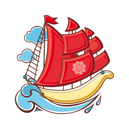 Little sailboat. Childrens toy.  Best for alphabet. Vector illustration.