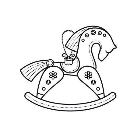 Children's toy. The little wooden horse. Wooden toy. Vintage horse. Rocking horse icon. Rocking wooden horse. Stock Vector - 83686018