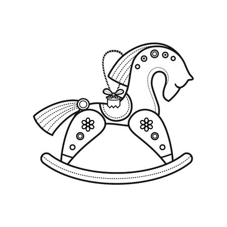 Kinder speelgoed. Het kleine houten paard. Houten speelgoed. Vintage paard. Rocking horse icon. Schommelend houten paard. Stock Illustratie