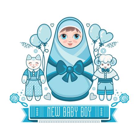 russian doll: Newborn little baby. Matryoshka. Greeting card. Best for birthday congratulation. Illustration