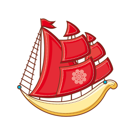 galley: A little sailboat. Childrens toy.  Best for alphabet illustration.