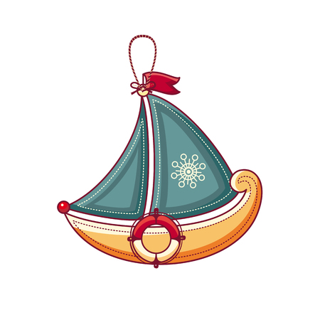 floating: A little sailboat. Childrens toy.  Best for alphabet illustration.