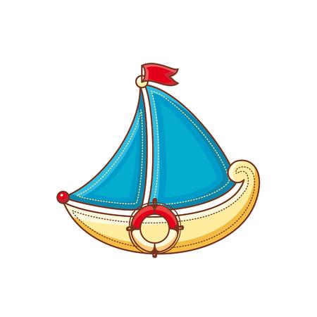battleship: A little sailboat. Childrens toy.  Best for alphabet illustration.