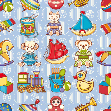 simple girl: Kid toy seamless pattern.