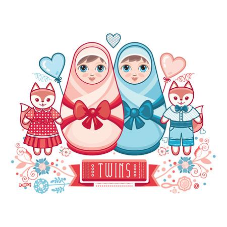 Newborn little baby. Matryoshka. Greeting card. Best for birthday congratulation. Illustration