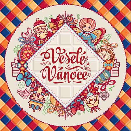 Vesele Vanoce. 크리스마스 메시지. 체코 언어로 문구가있는 레터링 작문. 행복한 휴일에 대한 따뜻한 소원. 인사말 카드에 가장 적합합니다. 영어 번역 : Me 일러스트
