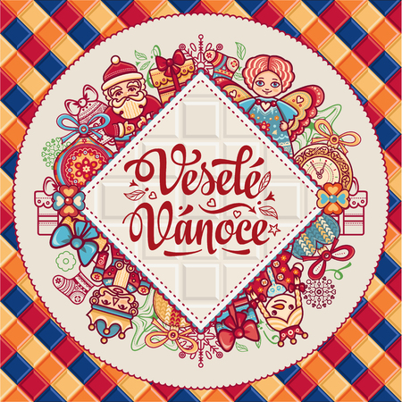 Cristmas: Vesele Vanoce. Christmas message. Lettering composition with phrase on Czech language. Warm wishes for happy holidays. Best for greeting card. English translation: Merry Christmas. Illustration