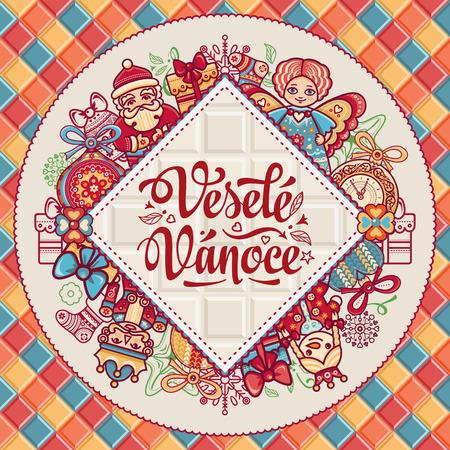 Vesele Vanoce. 크리스마스 메시지. 체코 언어로 문구가있는 레터링 작문. 행복한 휴일에 대한 따뜻한 소원. 인사 장, 프로모션에 가장 적합합니다. 영어 번역 : Merry Christmas. 스톡 콘텐츠 - 83745381