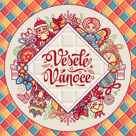 best wishes: Vesele Vanoce. Christmas message. Lettering composition with phrase on Czech language. Warm wishes for happy holidays. Best for greeting card, promotion. English translation: Merry Christmas.
