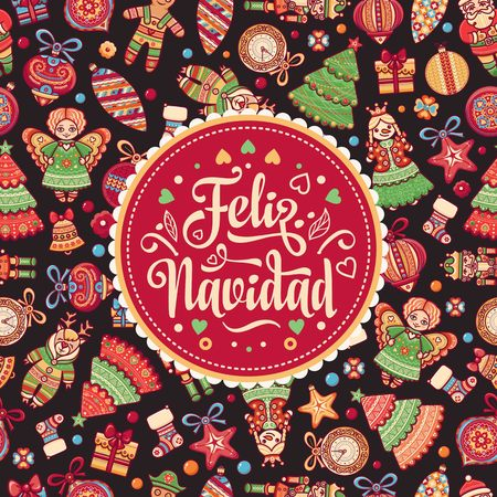 christmas decorations for invitations and greeting cards winter toy feliz navidad xmas card - Spanish Christmas Decorations