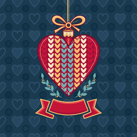 Cute textless knitted heart template. Best for celebration, invitation and greeting cards Illustration