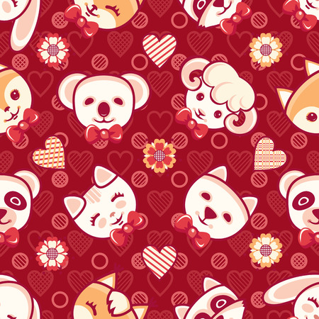 Cute little animals. Seamless pattern. Colorful background with characters - Panda, lamb, cat, Fox, rabbit, hare, squirrel, raccoon. Cartoon style